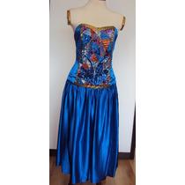 Vestido De Noche En Seda, Straple , Azul Rey Con Pedreria
