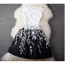 Vestido De Còctel Blanco Y Negro (010107)