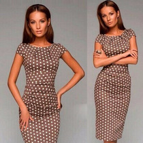 Vestido Tipo Bodycon Beige Con Dots Blancos (back To Work)