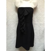 Exclusivo Vestido Fiesta Invierno Negro Corto Strapless Xs