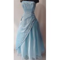 Vestido De Quince Años Color Azul Talla ¨m¨ Americano