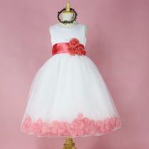 Vestido De Fiesta Infantil Naranja Pastel Con Flores.
