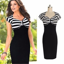 Vestido Bodycon Negro Top Y Mangas Stripes Blancas