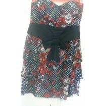 Vestido Strapless Zara Estampado Flores Y Lunares Con Moña
