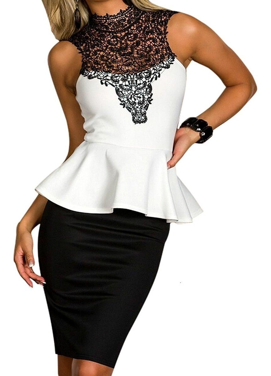 Vestidos Blanco Y Negro Estilo Sexy
