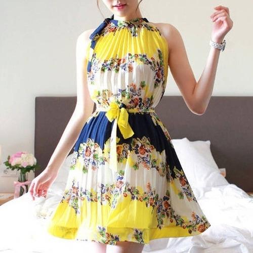 vestidos casuales cortos sexys de temporada floreado de moda