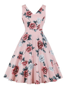 Vestidos Casuales Dama Elegante Retro Moda Flores Viaje Vera