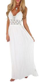 Vestidos Casuales Elegantes Playero Blanco Largo Moda Damas