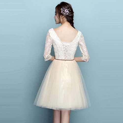 vestidos cóctel escote u mangas encaje cintilla moderno dos
