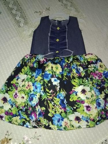 vestidos con jeans y estampado de flores para niñas