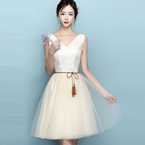 vestidos cortos evento especial escote v cintilla moda dos
