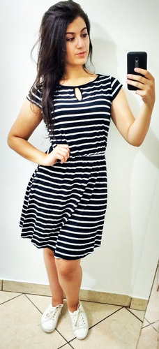 vestidos curto listrados moda evangelica 360