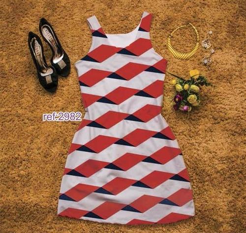 vestidos curtos chanel estampa digital suplex atacado 4 peça