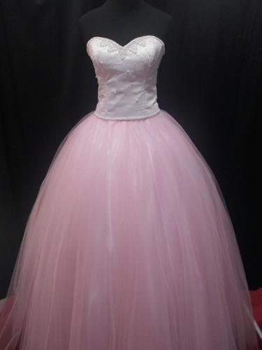 vestidos de 15 años rosa borbado en perlas