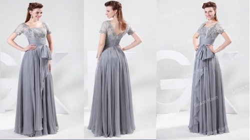 vestidos de fiesta elegante noche largos gris