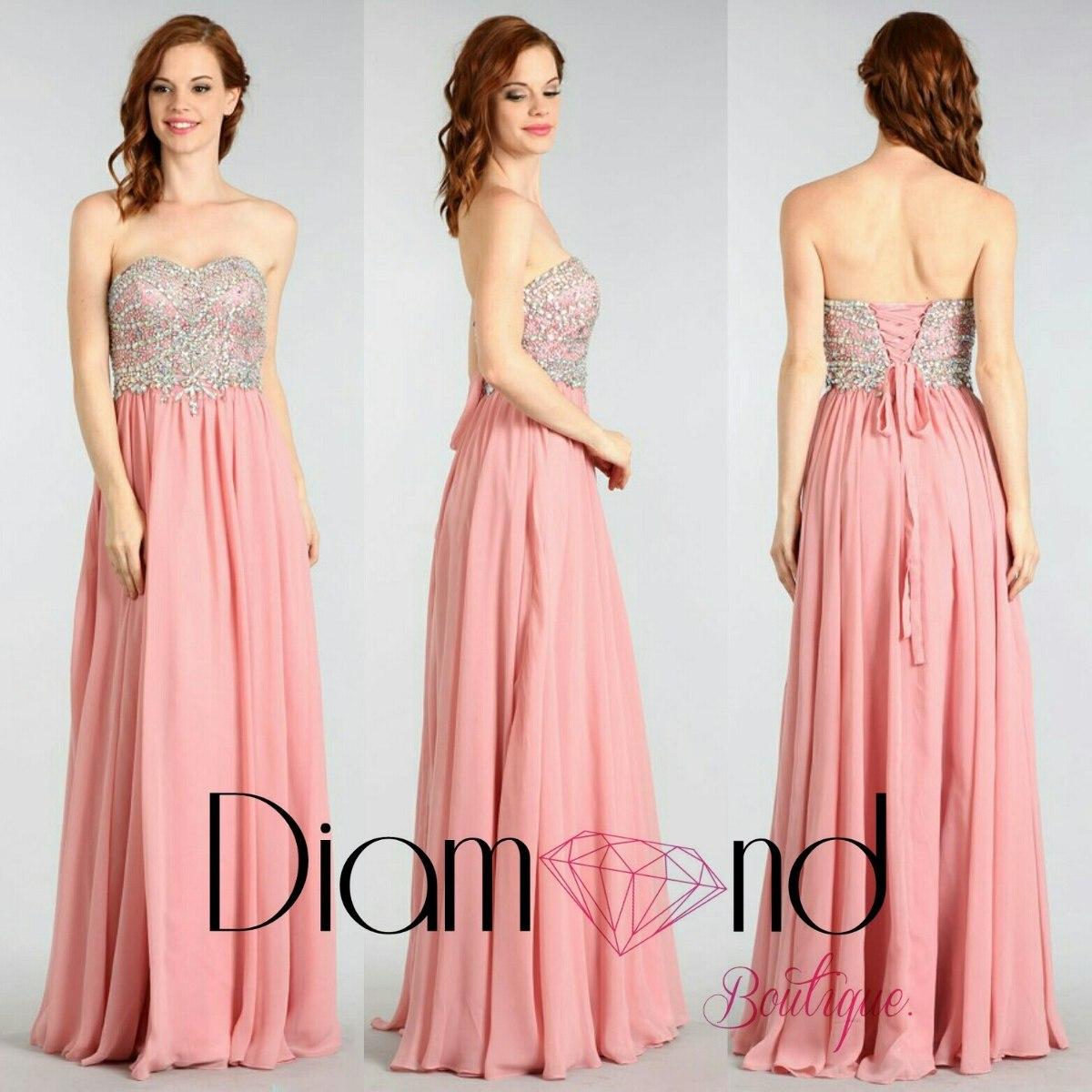 Vestidos de noche color palo de rosa