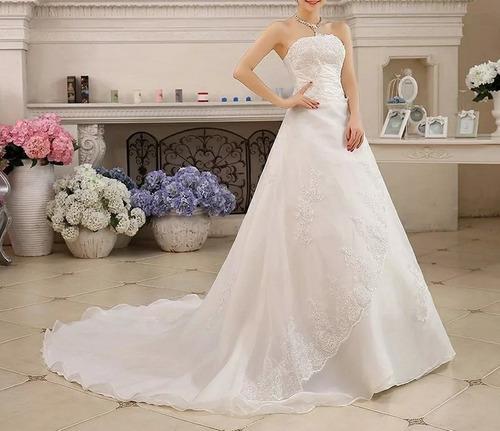 vestidos de novia con cola nuev blanco ivory envió gratis