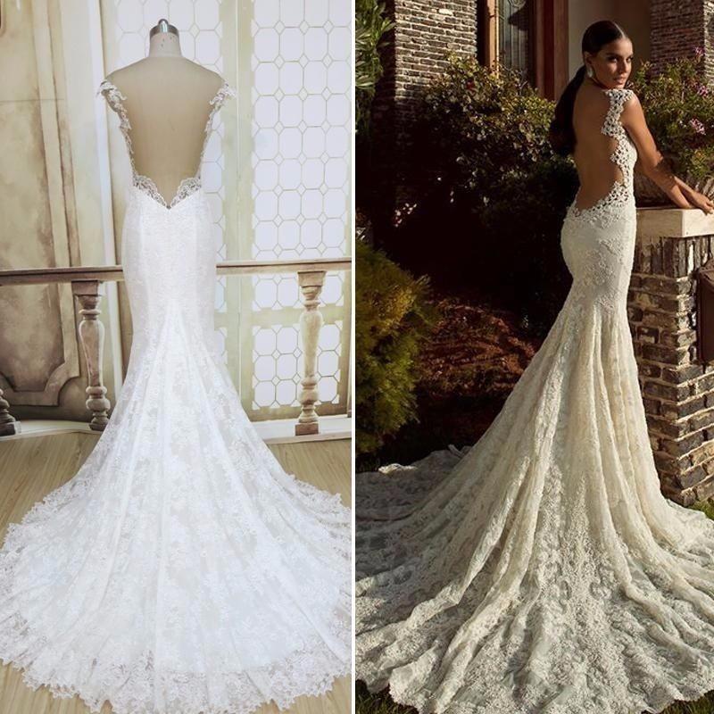 vestidos de novia corte sirena cauda larga - $ 4,950.00 en mercado libre