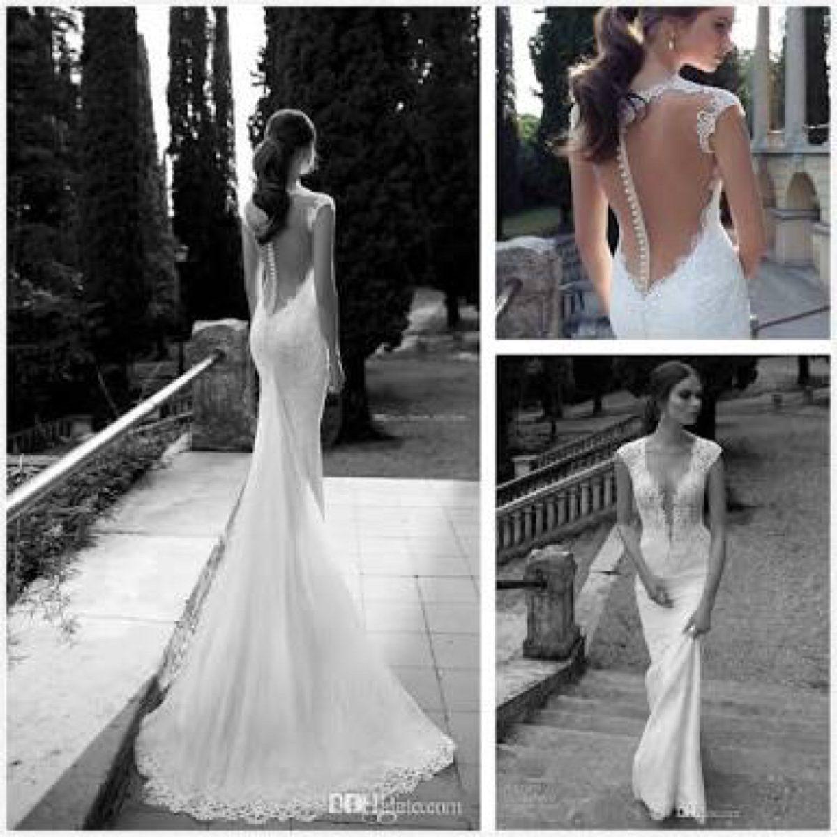 Vestido de novia corte sirena cola desmontable