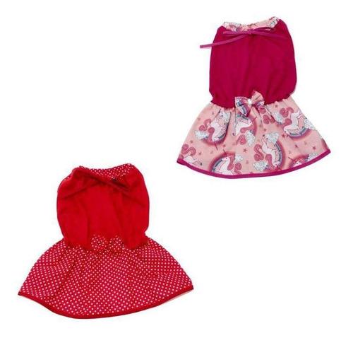 vestidos de verão para cachorro vermelho e unicórnio - g