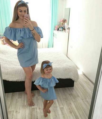 vestidos denim jeans fino mama e hija