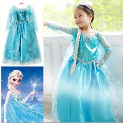 vestidos disfraz frozen elsa azul