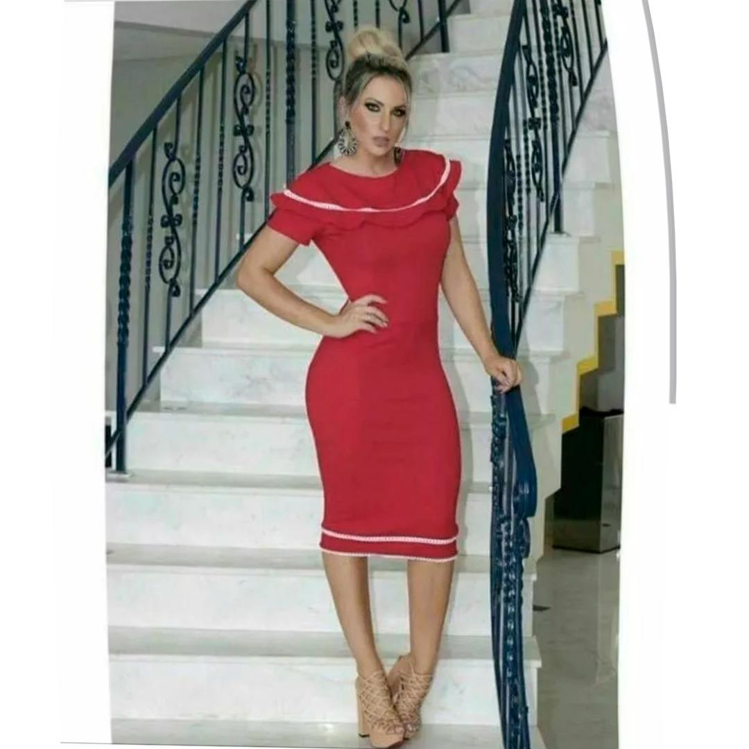 2d1c50c16f Vestidos Femininos Evangelicos Tubinho Midi Vermelho - R  169