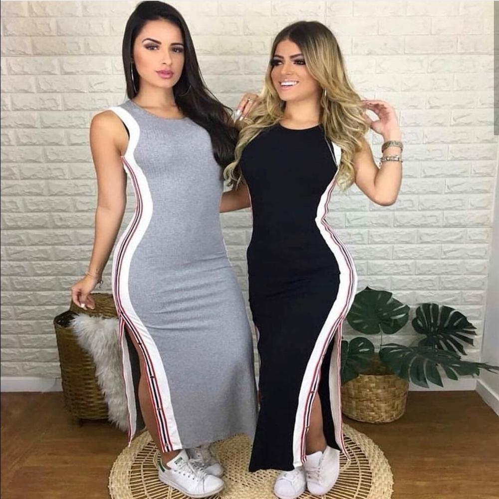 22b20194b1 vestidos femininos midi canelado fenda botões listrados moda. Carregando  zoom.