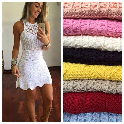 vestidos femininos tricot crochê  modelo 2017