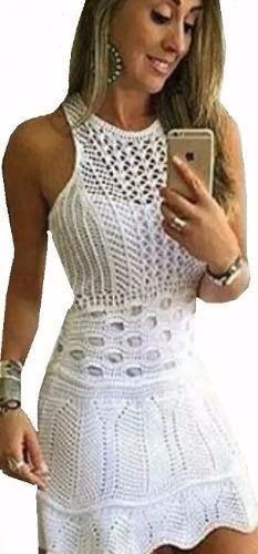 7dbcf37a4445 Vestidos Femininos Tricot Crochê Modelo 2019 - R$ 70,00 em Mercado Livre