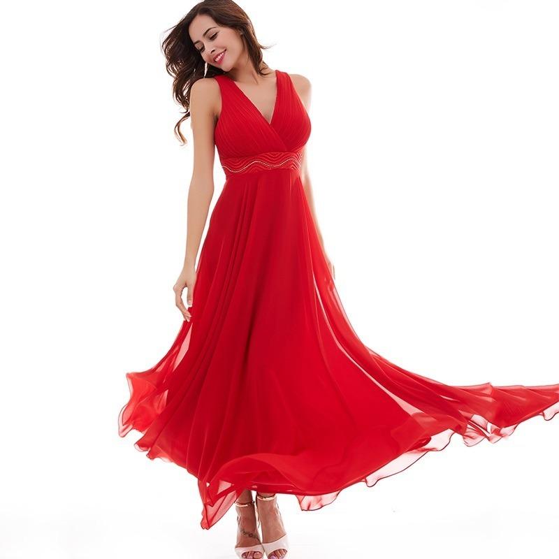 69769232fe vestidos fiesta largo rojo talla 8 10 gasa forrado ep 202. Cargando zoom.