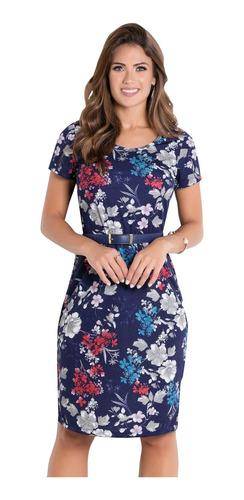 vestidos floridos kit com 3 tubinho midi moda evangélica