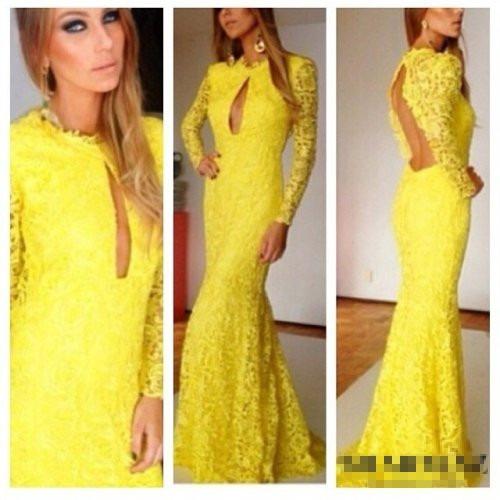 Modas de vestidos largos en blonda