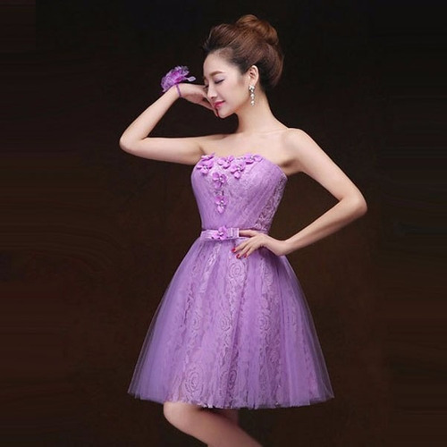 vestidos juveniles corto strapless flores fresco ligero moda