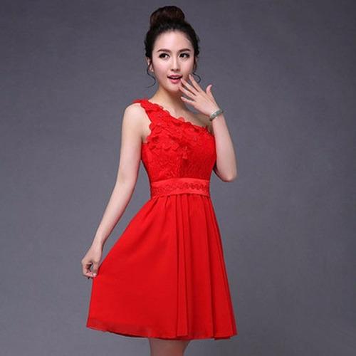 vestidos juveniles formal escote asimétrico floral moda dos