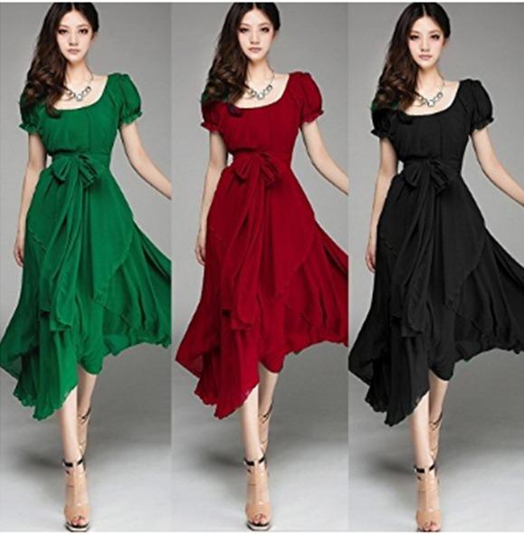 5fc14a768603d Vestidos Largos Bonitos Económicos Elegantes Casual Barato -   1.320 ...