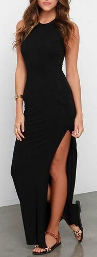 vestidos largos de dama casuales, con abertura, maxi vestido