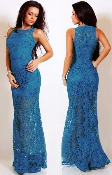 Vestidos Largos De Encaje Elegantes Para Fiestas a92d21f917a2