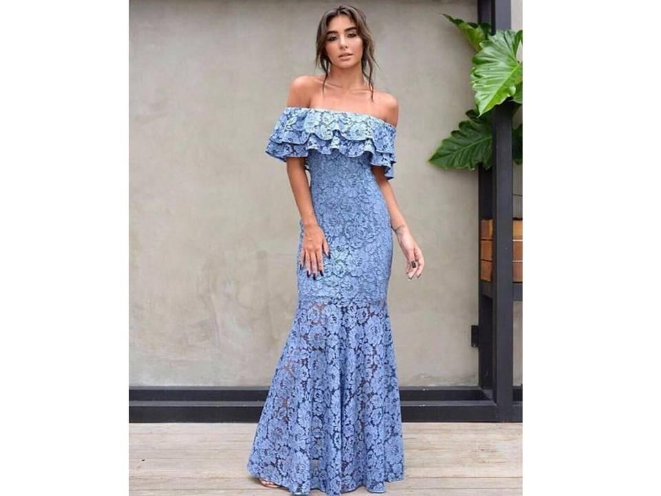 Vestidos largos elegantes azules mercadolibre