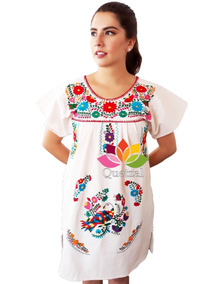 126411389b Vestidos Mexicanos Bordados A Mano Artesanal Manta Cruda