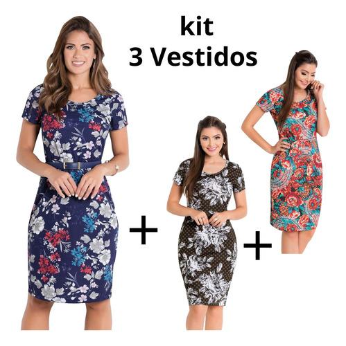 vestidos moda evangélica kit com 3 tubinho midi blogueira