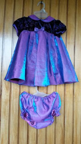 vestidos niña morado saten elegante, talla 2