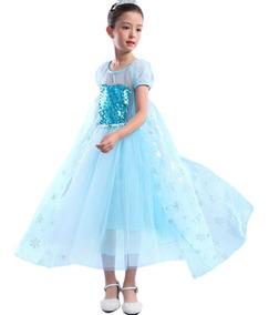 Vestidos Niñas Disfraz Princesa Reina Elsa Lentejuelas Nieve