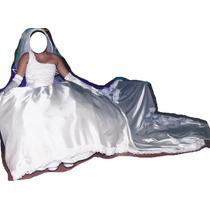 Vestido De Novia Color Champan Con Cola De 3 Metros Bordada