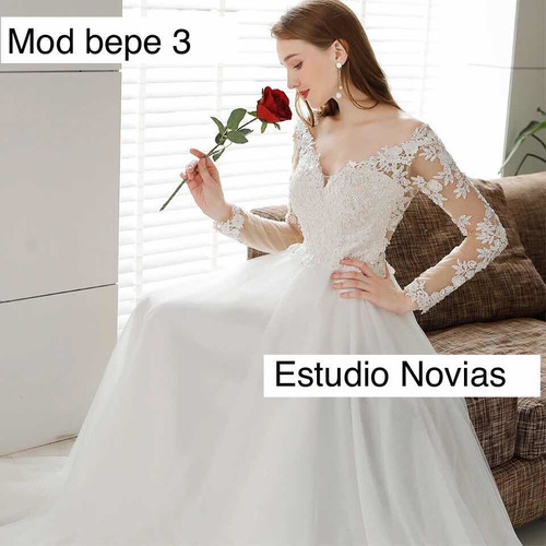 vestidos novia nuevo barato bonito playa manga larga bepe 3