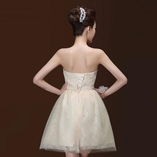 vestidos ocasión especial corto sofisticado strapless dos