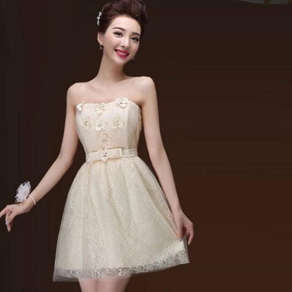 Vestidos Especial Corto Strapless Sofisticado Flores Ocasión 9IED2H