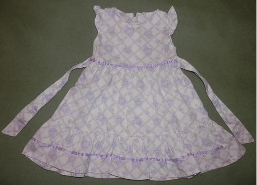 vestidos pana estampada flores y lazo- bautismo 7 a 15 meses