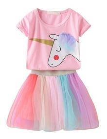 mejor amado b1845 618ea Vestidos Para Bebé Niña Conjunto Bebita Falda Tutu Unicornio