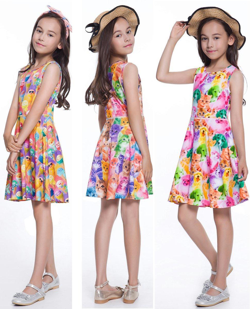 eee6418a7 Vestidos Para Niñas Varios Modelos Perritos Gatos Donas